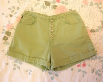 90s Gitano lime green high waist denim shorts 1990s button fly cuffed jean shorts high waisted colored denim size large 12 31 waist