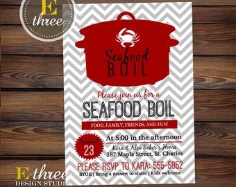 Seafood Boil Invitation - Shrimp, Crab Boil Party Invitation - Seafood Rehearsal Dinner Invite - Low Country Boil