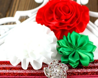 Headband Kit - MERRY and BRIGHT - Red, Green and White Christmas Headband - Hairbow Supplies, Etc.