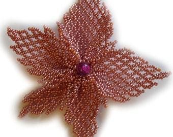 Lotus smoky pink big flower  beading netted handmade exclusive ellegant  brooch