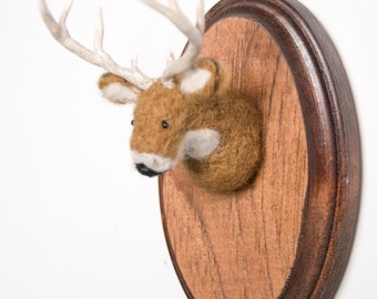 Miniature Needle-felted Deer Mounted Head on Wooden Plaque