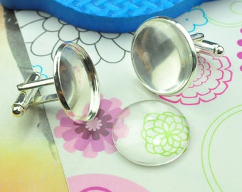 20pcs silver plated Brass Round bezel cufflink base Blank with Glass domed inserts 20mm silver cuff links