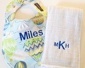 Monogrammed Bib and Burp Cloth set - Hot Air Balloons for Boys - Etsykids Team - Personalized Baby Bib - Up up and Away - Baby Shower Gift