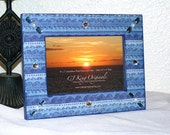 Blue Photo Frame Wavy Stripes family vacation beach surfing cottage