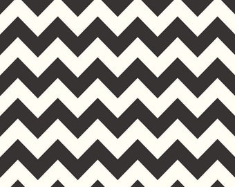 SALE - One Yard - Medium Chevron in Black by Riley Blake - Cream and Black - La Creme