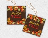 "SALE! Fall Autumn Gift Tags, ""Happy Fall Y'All"", Southern, Brown, Red, Yellow Leaves, DIY Printable Digital File, Direct Download"
