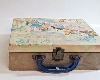 Children's Suitcase Mid century 1950's Toyville Playland Nursery Storage Decor