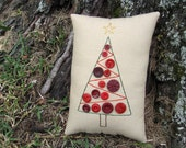 Primitive Christmas Tree Pillow, Red Button Tree, Embroidery Pillow Tuck, Original Design OOAK, Red Green Holiday Decor, vintage buttons CIJ