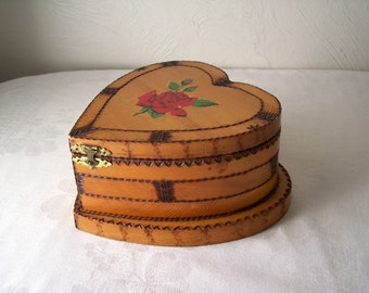 large wooden heart shaped box - woodburned trinket chest - jewelry box - valentines day gift - primitive keepsake for sweetheart