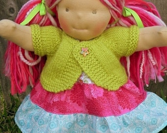 SALE 15-16 inch Waldorf Doll Wool Sweater  - Blue, Purple, Green, Pink