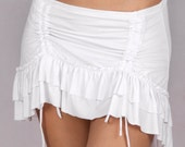 Ruffle Overskirt in Rayon Lycra WHITE - Dance wear, Yoga wear, Active wear, Casual wear