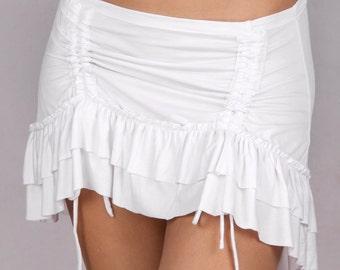 Ruffle Overskirt in Rayon Lycra WHITE - Dance wear, Yoga wear, Active wear, Casual wear