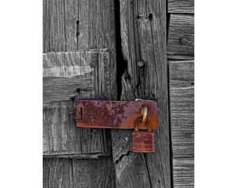 Rusted Yale Padlock and Henge on Rustic Wooden Door in Edmonton Alberta Canada No.3071 A Fine Art Still Life Photograph