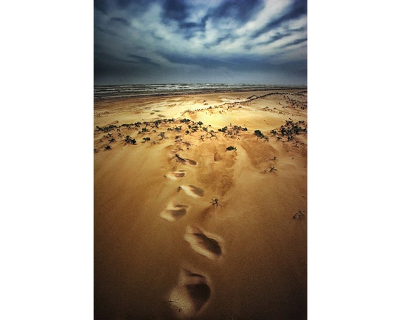 Footprints on a Sandy Beach at Padre Island National Seashore in Southeast Texas on the Gulf of Mexico No.8 A Fine Art Seascape Photograph
