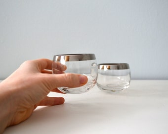 Vintage Mad Men Roly Poly Glasses, Small Silver Rim Drinking Glassware, Shot Glass, Midcentury Tumblers