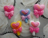 Kawaii heart lollipop with cute bow cabochon decoden deco diy charms  5 pcs--USA seller