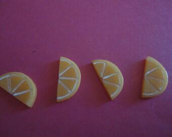 Kawaii orange slice cabochon decoden deco diy charm  4 pcs---USA seller