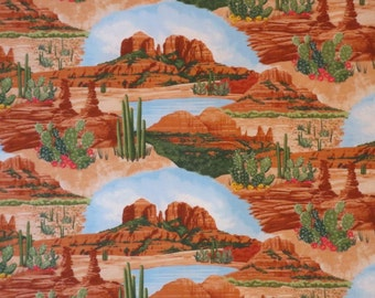 Terracotta and Green Southwest Scenic Print from Timeless Treasures--One  Yard