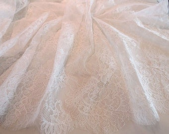 Delicate Off White Floral Design Chantilly Leavers Bridal Lace Fabric--One Yard