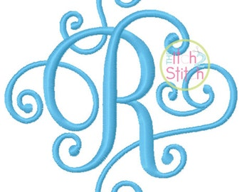"Elegant Scroll Small Monogram Font 2"", 3"", 4"", & 5"" , Uppercase ONLY, INSTANT DOWNLOAD now available"