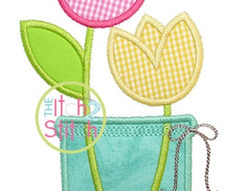 Tulip Jar Applique Design in 4x4, 5x5, 6x6, and 7x7 INSTANT DOWNLOAD now available