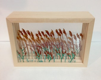 Reeds and Flowers Shadow Box (Large)