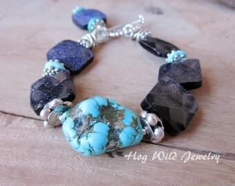 Handcrafted Artisan Blue Goldstone Turquoise Nugget Bracelet