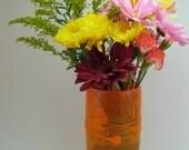 Shades of Orange Blown Glass Threads Vase