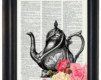 BOGO 1/2 OFF  Dictionary Art Prints Sheet Music Teapot with Flowers A HHP Original Concept and Design Kitchen Art Prints