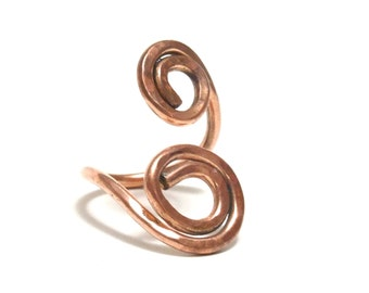 Copper Adjustable Ring, Women, Men, Teen, Size 6--8.5, Healing Metal