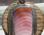 Large Vintage Sterling Silver Ladies Womens Pendant with Pink Opal Gemstone