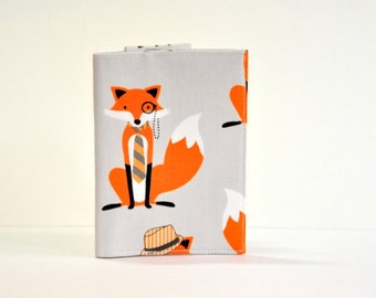 Passport Cover Sleeve Case Holder dapper fox with monacle orange and gray Cotton Fabric