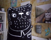 Sebastien  black cat, soft art creature, painted toy by Wassupbrothers, soft decoration, home nursery decor,stuffed cat pillow, kitty