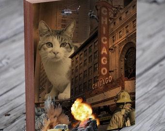 Whiskers Attacks Chicago - Cat Art - Wood Block Art Print