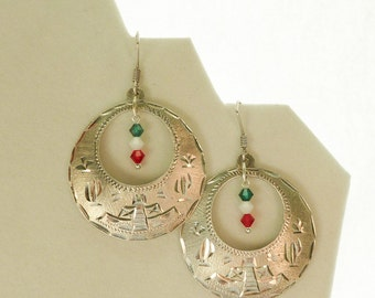 Upcycled Mexican Silver Earrings Green Red White Mexican Flag Colors Pyramid Motif Mexican Earrings Sterling Silver 925 Earrings