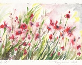 """Wild, a 5""""x7"""" print of a watercolor abstract of Poppies, printed on 8""""x10"""" paper"""