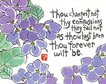 Blue Violets (Hand-painted Original Etegami, Hymn lyrics)