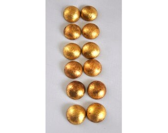 6 Pairs Gold Tone Metal Round Domed Earrings For Crafts