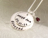Personalized Mother's Necklace with Child's Name and Birth Date Engraved on Top Sterling Silver Disc and Blessed on the Larger Bottom Disc