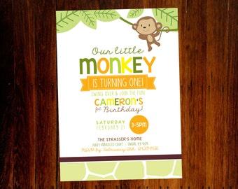 Monkey Safari Birthday invitations - set of 12