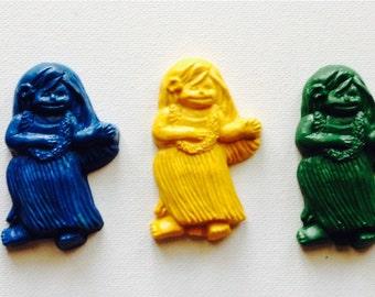 Luau girl crayons