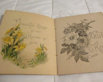 "Antique 1890 Greeting Card Poetry Book ""Wild Flowers"" by R. Nicoll"