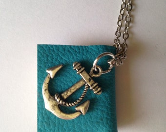 Anchor Book Charm Necklace