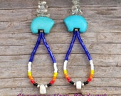 Native American Beaded Earrings - Zuni Bears - Dangle Hoop - Cobalt Blue
