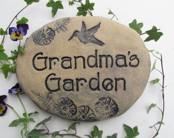 "Grandma gift. ""Grandma's Garden"" sign, Grandma garden rock or stone. Ready to ship. Personalized For Grandma. Wording Flowers Hummingbird"