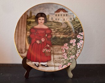Vintage Porcelian Folk Art Plate  /  Abigail in the Rose Garden Knowles China