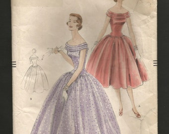 1950s Vintage VOGUE 8602 FORMAL Dress Gown Sewing Pattern 1955 One Piece Prom Dress just below knee or floor length Size 14 Bust 32