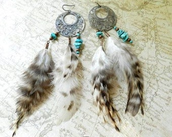 Long Feather | Matte Silver Filigree, Turquoise Colored Beads, & Long Striped Rooster Feathers