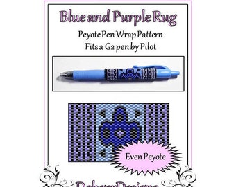 Bead Pattern Peyote(Pen Wrap/Cover)-Blue and Purple Rug