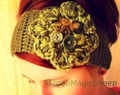 Crochet Flower Headband headwrap boho earwarmer - Adult size -  green